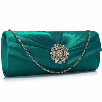 LSE00104 - Turquoise Crystal Flower Satin Clutch
