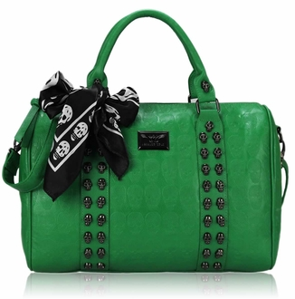 LS0050 -  Green Stunning  Skull Studded Barrel Bag With Long Strap