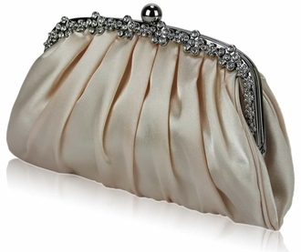 LSE0088 - Nude Sparkly Crystal Satin Evening Clutch