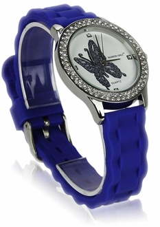 LSW0018- Blue Womens Butterfly Diamante Watch