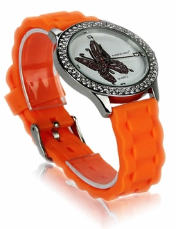 LSW0018- Wholesale & B2B Orange Womens Butterfly Diamante Watch Supplier & Manufacturer