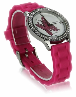 LSW0018- Fuchsia Womens Butterfly Diamante Watch