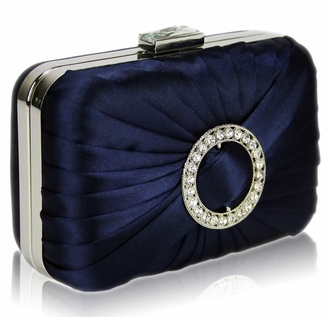 LSE0071 - Navy Gorgeous Satin Rouched Brooch Hard Case Black Evening Bag
