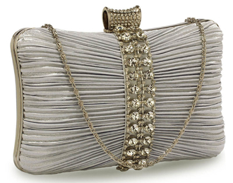 LSE0049 - Gorgeous Silver Crystal Strip Clutch Evening Bag