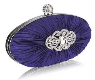 LSE0093 - Gorgeous Navy Crystal Satin Rouched Hard Case Evening Bag