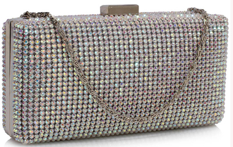 LSE00190- AB White Sparkly  Evening Clutch