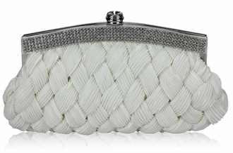 LSE00192 - Ivory Crystal Evening Clutch Bag