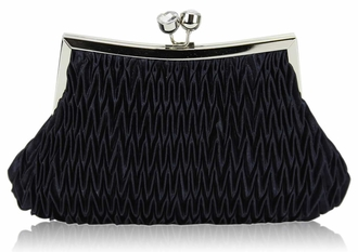 LSE00193 - Navy Crystal Evening Clutch Bag