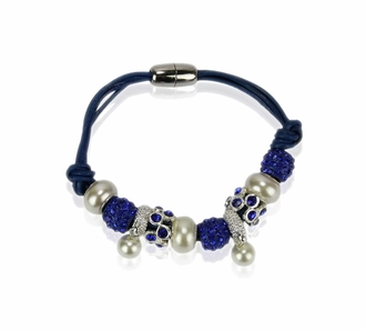 LSB0059-Blue Crystal Bracelet With Pearl Charm