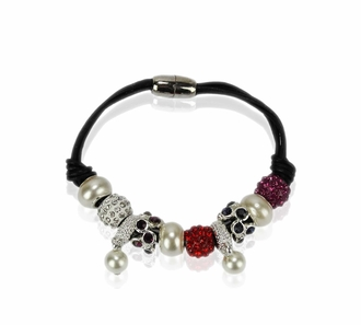 LSB0059- Multi Coloured Crystal Bracelet With Pearl Charm