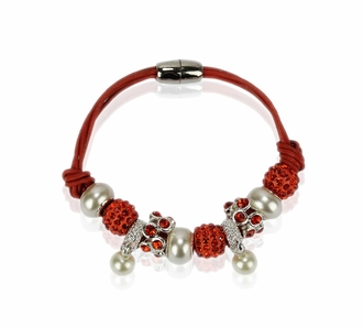 LSB0059- Orange Crystal Bracelet With Pearl Charm