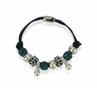LSB0059- Teal Crystal Bracelet With Pearl Charm