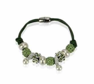 LSB0059- Light Green Crystal Bracelet With Pearl Charm