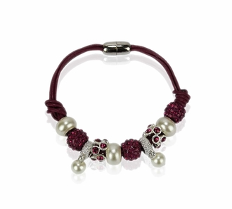 LSB0059- Purple Crystal Bracelet With Pearl Charm