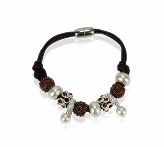 LSB0059- Coffee Crystal Bracelet With Pearl Charm