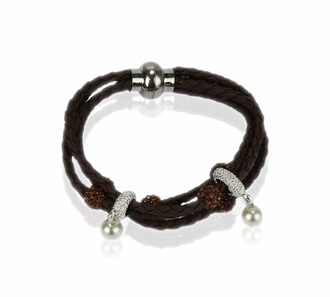 LSB0056- Coffee Crystal Bracelet With Pearl Charm