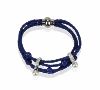 LSB0056- Blue Crystal Bracelet With Pearl Charm