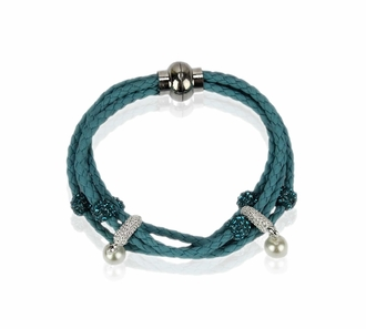 LSB0056- Teal Crystal Bracelet With Pearl Charm