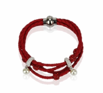 LSB0056- Red Crystal Bracelet With Pearl Charm