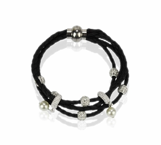 LSB0056- White Crystal Bracelet With Pearl Charm