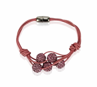 LSB0055- Pink Crystal Bracelet With Pearl Charm