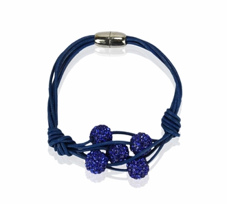 LSB0055- Blue Crystal Bracelet With Pearl Charm
