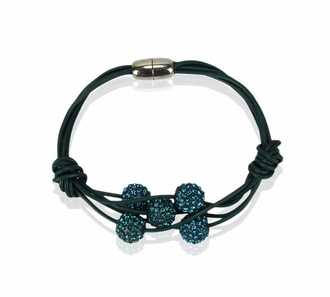 LSB0055- Teal Crystal Bracelet With Pearl Charm
