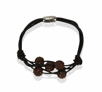 LSB0055- Coffee Crystal Bracelet With Pearl Charm