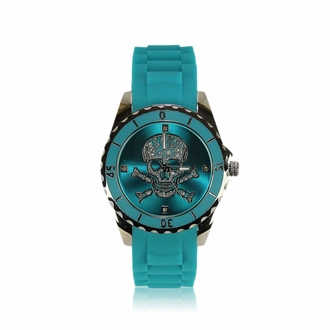 LSW0012- Unisex Teal Skull Watch