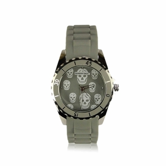 LSW0013- Unisex Grey Skull Watch