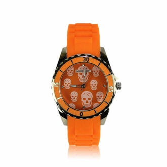 LSW0013- Unisex Orange Skull Watch