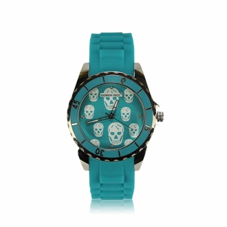 LSW0013- Unisex Teal Skull Watch