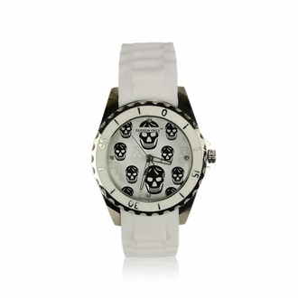 LSW0013- Unisex White Skull Watch