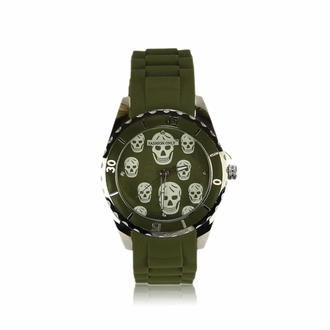 LSW0013- Unisex Olive Skull Watch