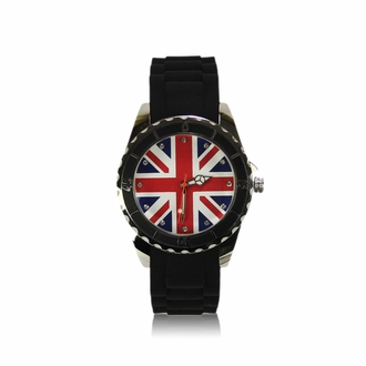 LSW0014- Black Diamante Union Jack Watch