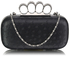 LSE00188 - Black Ostrich Skin  Knuckle Clutch/Crossbody purse