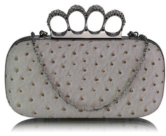 LSE00188 - Ivory Ostrich Skin Knuckle Clutch/Crossbody purse