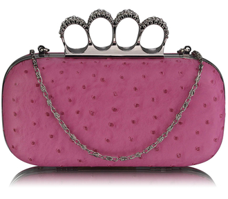 LSE00188 - Pink Ostrich Skin Knuckle Clutch/Crossbody purse