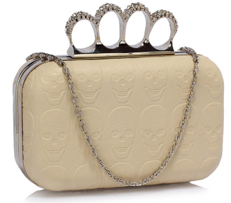LSE00195- Ivory Skull Embossed Clutch Bag