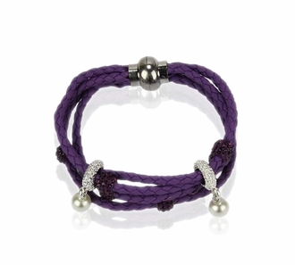 LSB0056- Purple Crystal Bracelet With Pearl Charm