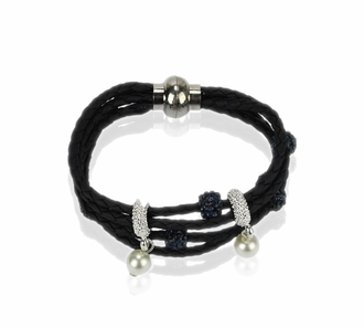 LSB0056- Navy Crystal Bracelet With Pearl Charm