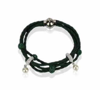 LSB0056- Light Green Crystal Bracelet With Pearl Charm