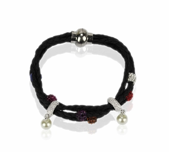 LSB0056- Multi Colour Crystal Bracelet With Pearl Charm