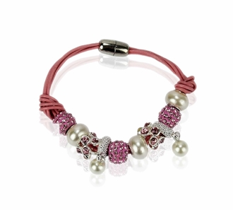 LSB0059-Pink Crystal Bracelet With Pearl Charm