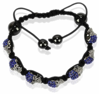 LSB0049- Royal Blue Crystal Skull Bracelet