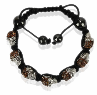 LSB0049- Coffee Crystal Skull Bracelet