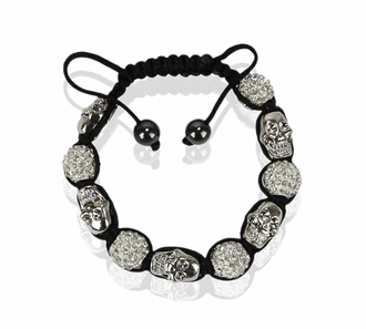 LSB0050-White Skull Crystal Disco Ball Bead Bracelet