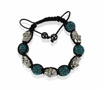 LSB0050-Teal Skull Crystal Disco Ball Bead Bracelet