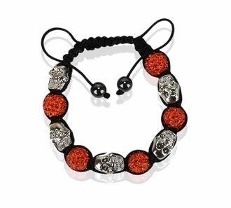 LSB0050- Orange Skull Crystal Disco Ball Bead Bracelet
