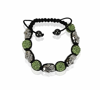 LSB0050- Light Green Skull Crystal Disco Ball Bead Bracelet